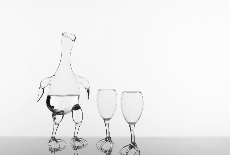 Simone Crestani glass wine set Ingo Maurer showroom