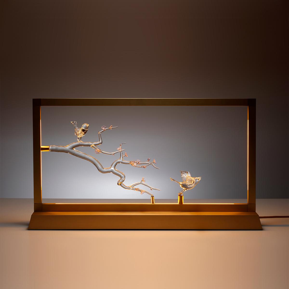 Handmade glass and brass light design