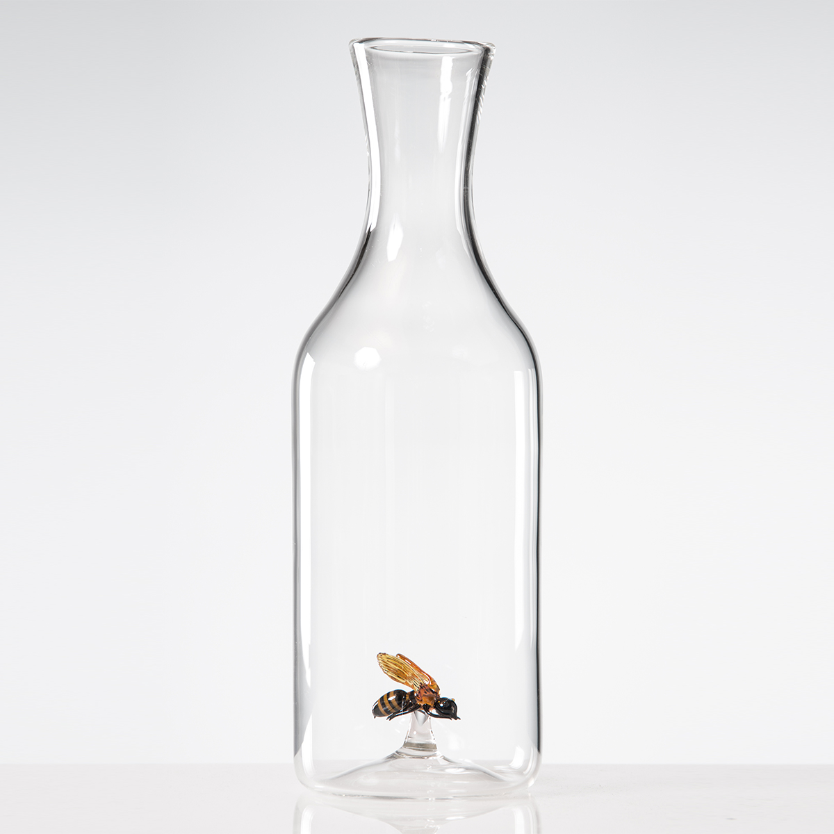 Hand-blown glass bee bottle