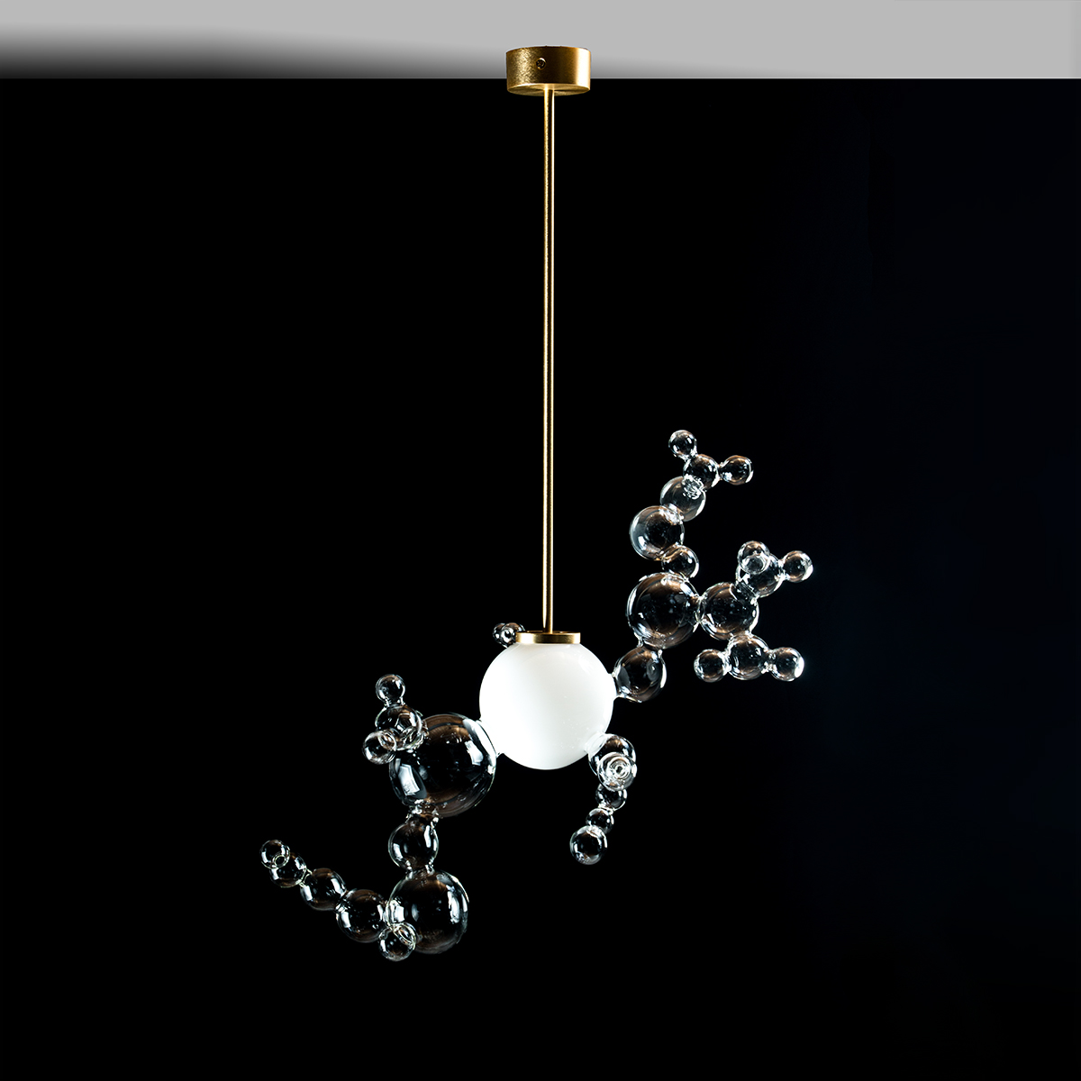 Handmade glass and gold chandelier