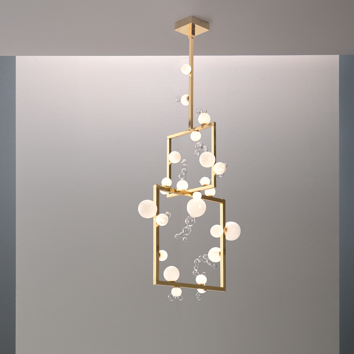 Handmade glass and brass chandelier design