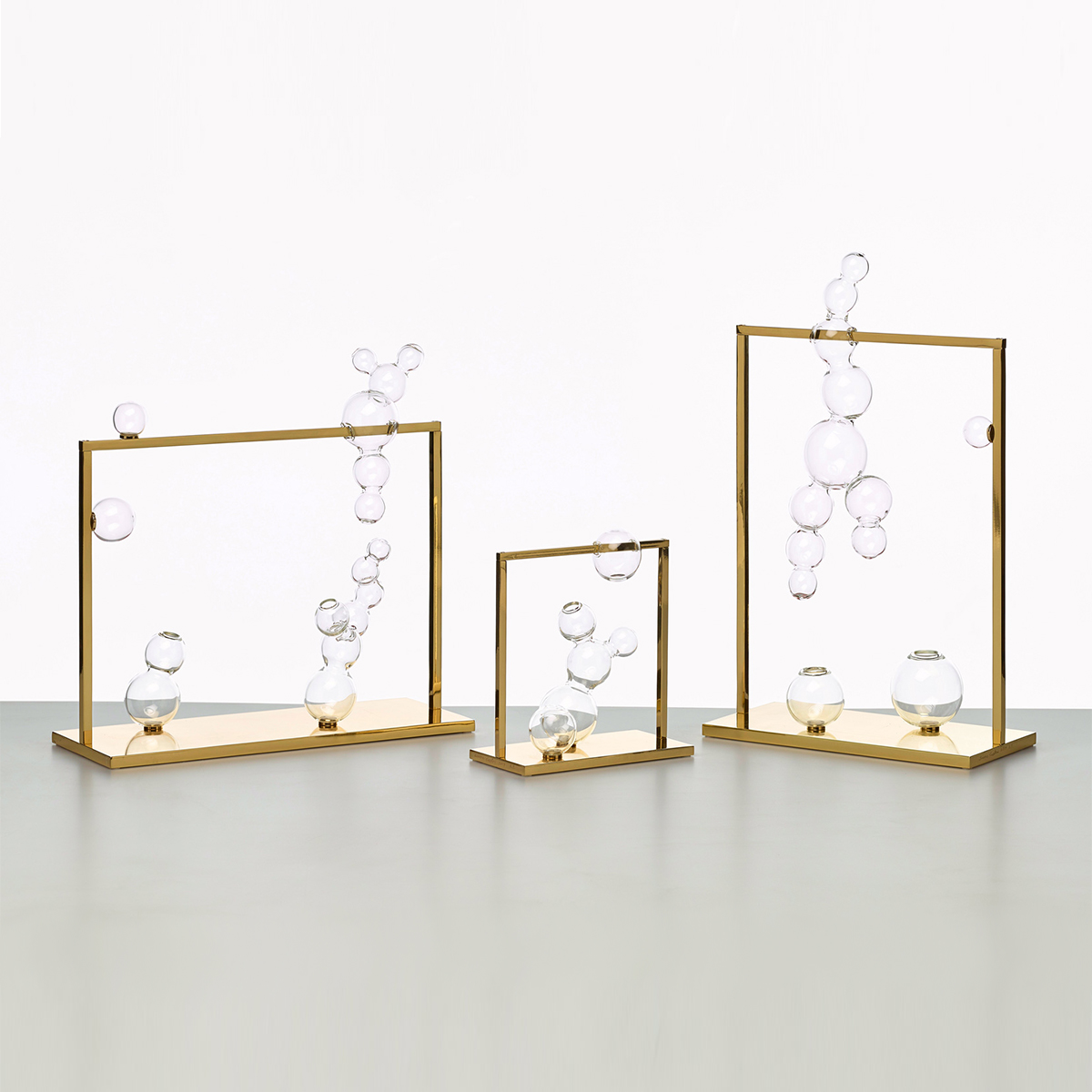 Handmade glass and brass vases