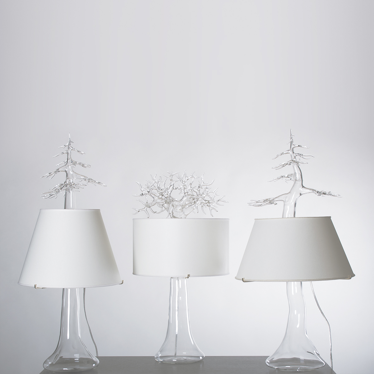 Hand-blown glass table lamps