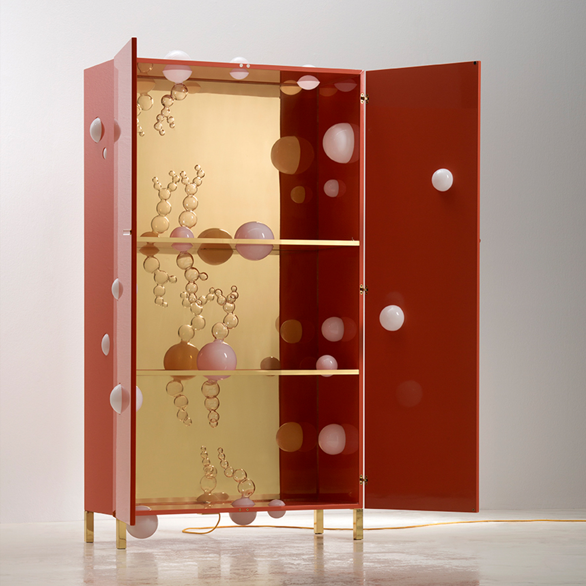 Handmade wooden and glass cabinet