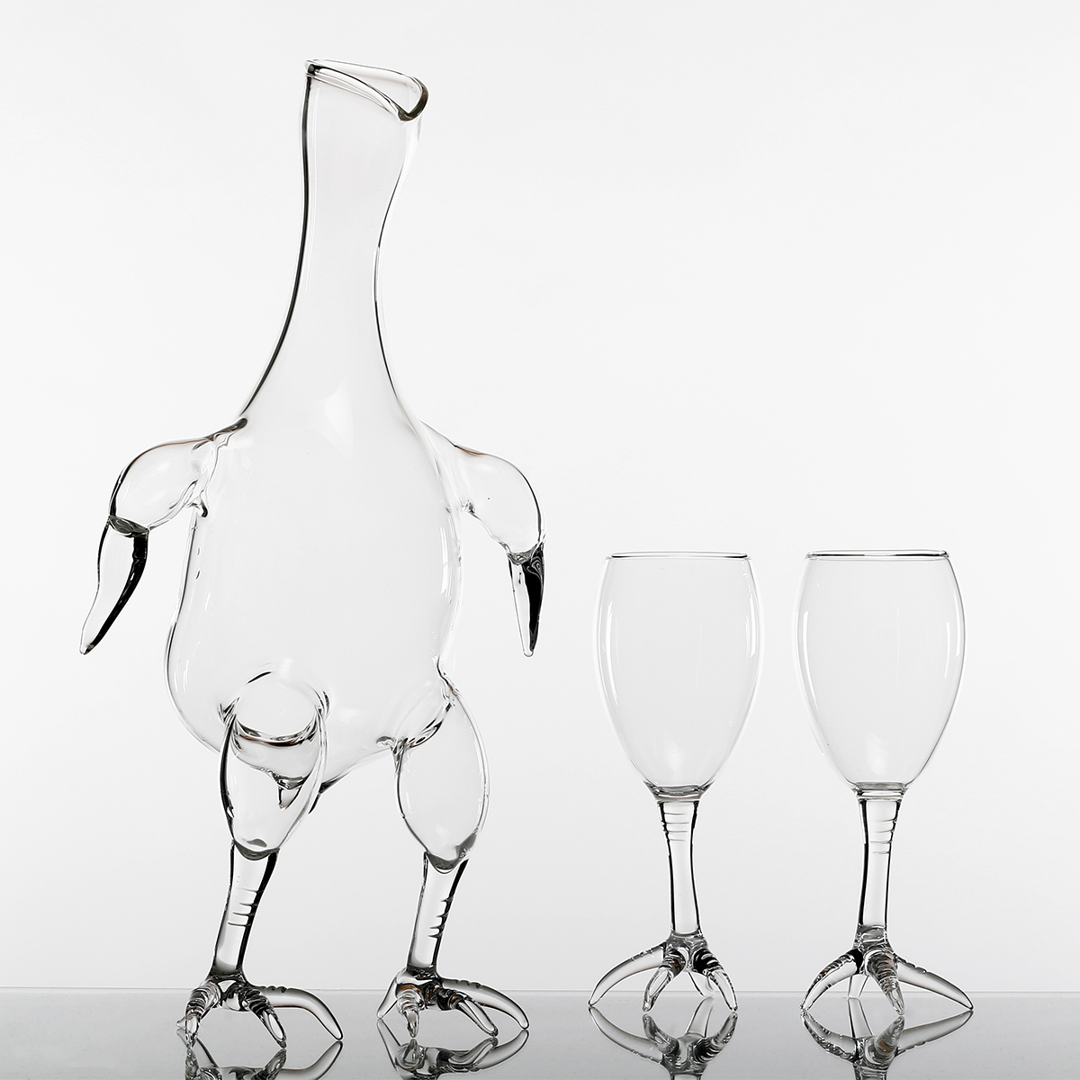 Hand-blown glass decanter and wineglasses