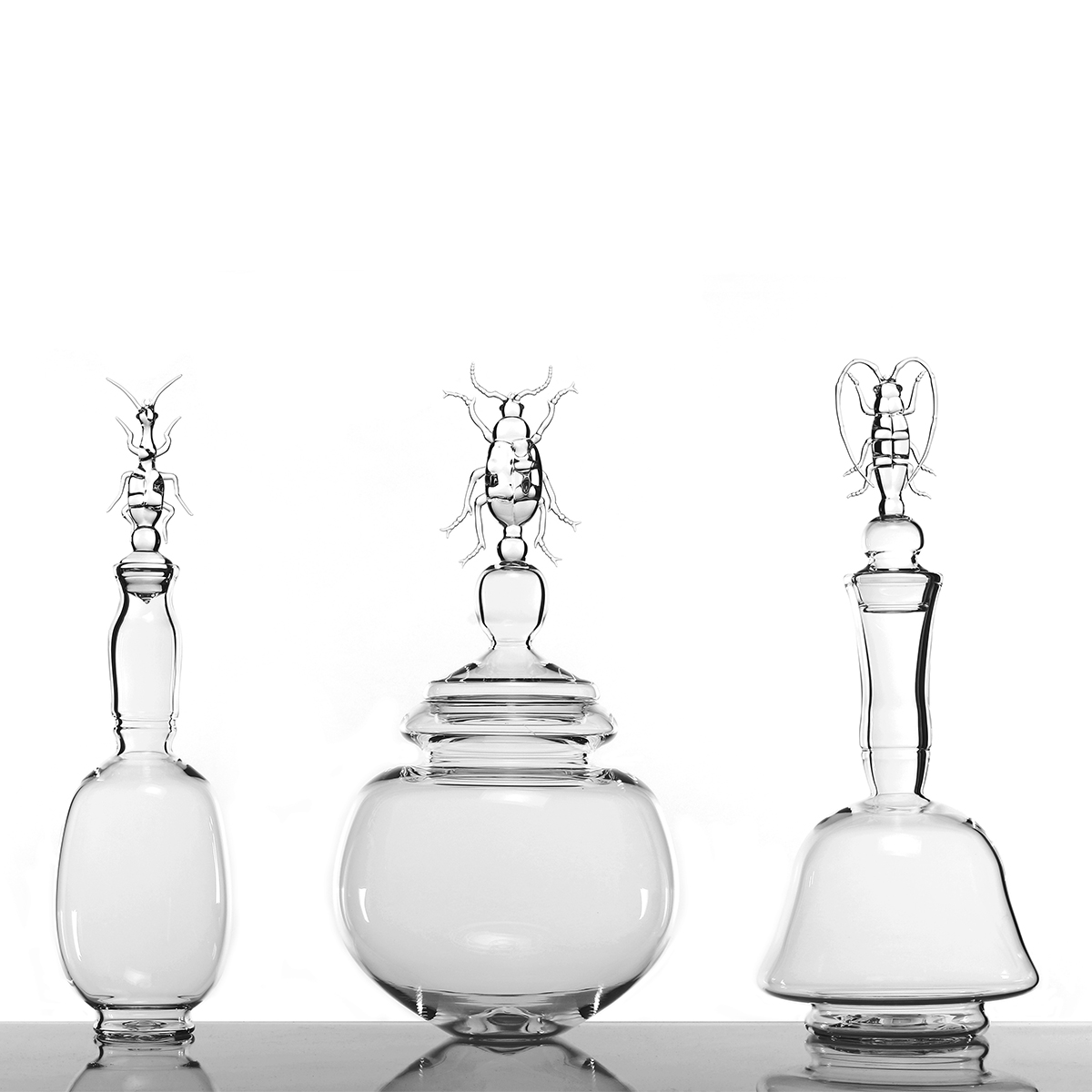 Hand-blown glass containers
