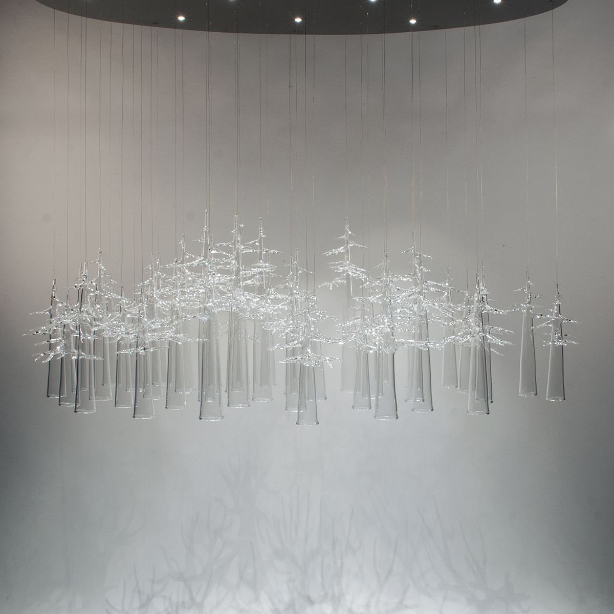 Hand-blown glass chandelier
