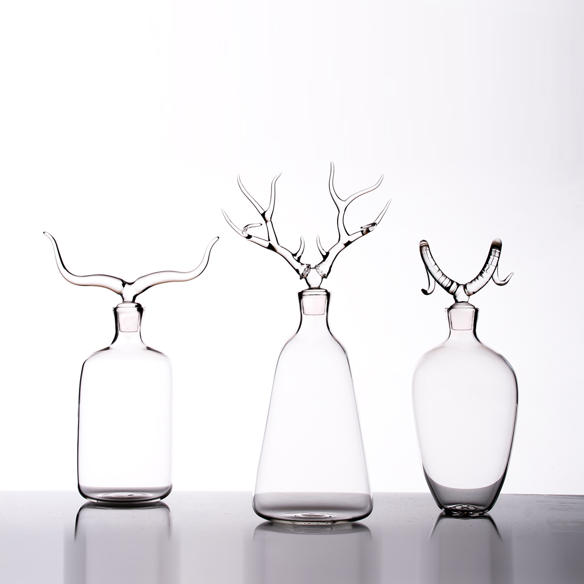 Hand-blown glass bottles